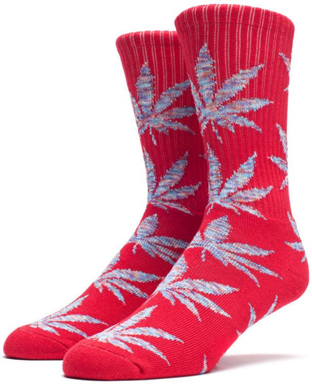 HUF Melange Plantlife Crew Sock, Rood / Blauw