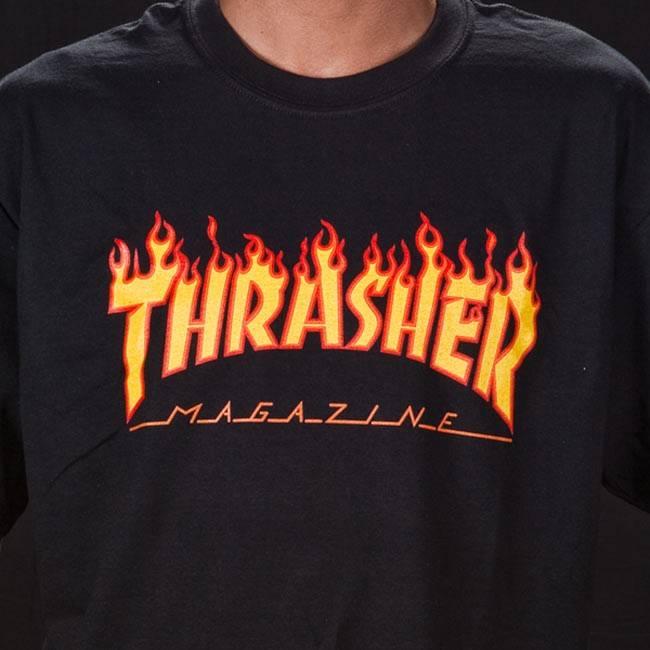 Thrasher Flame Logo T-shirt zwart