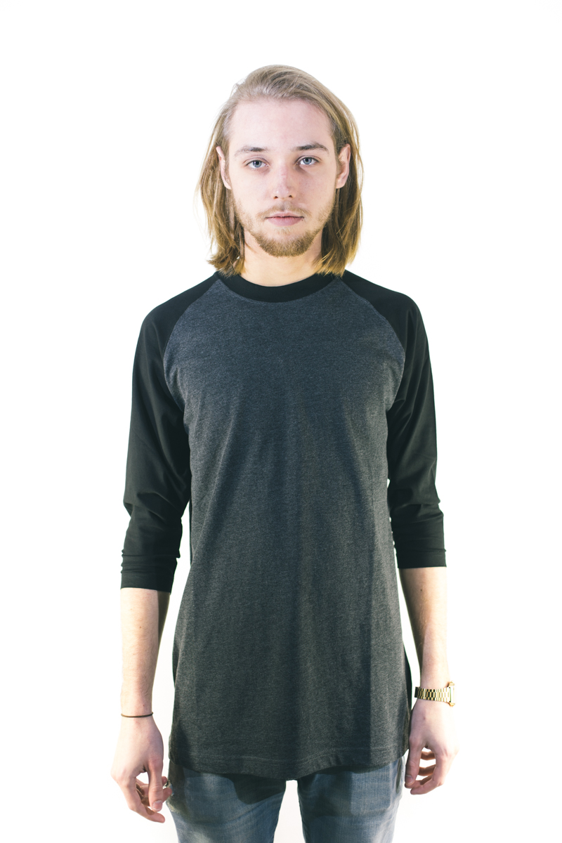 Urban Classics Contrast 3/4 Sleeve Raglan Tee Charcoal Black