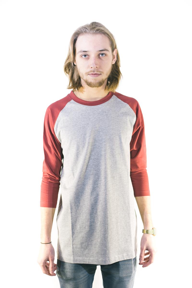 Urban Classics Contrast 3/4 Sleeve Raglan Tee Grey Ruby