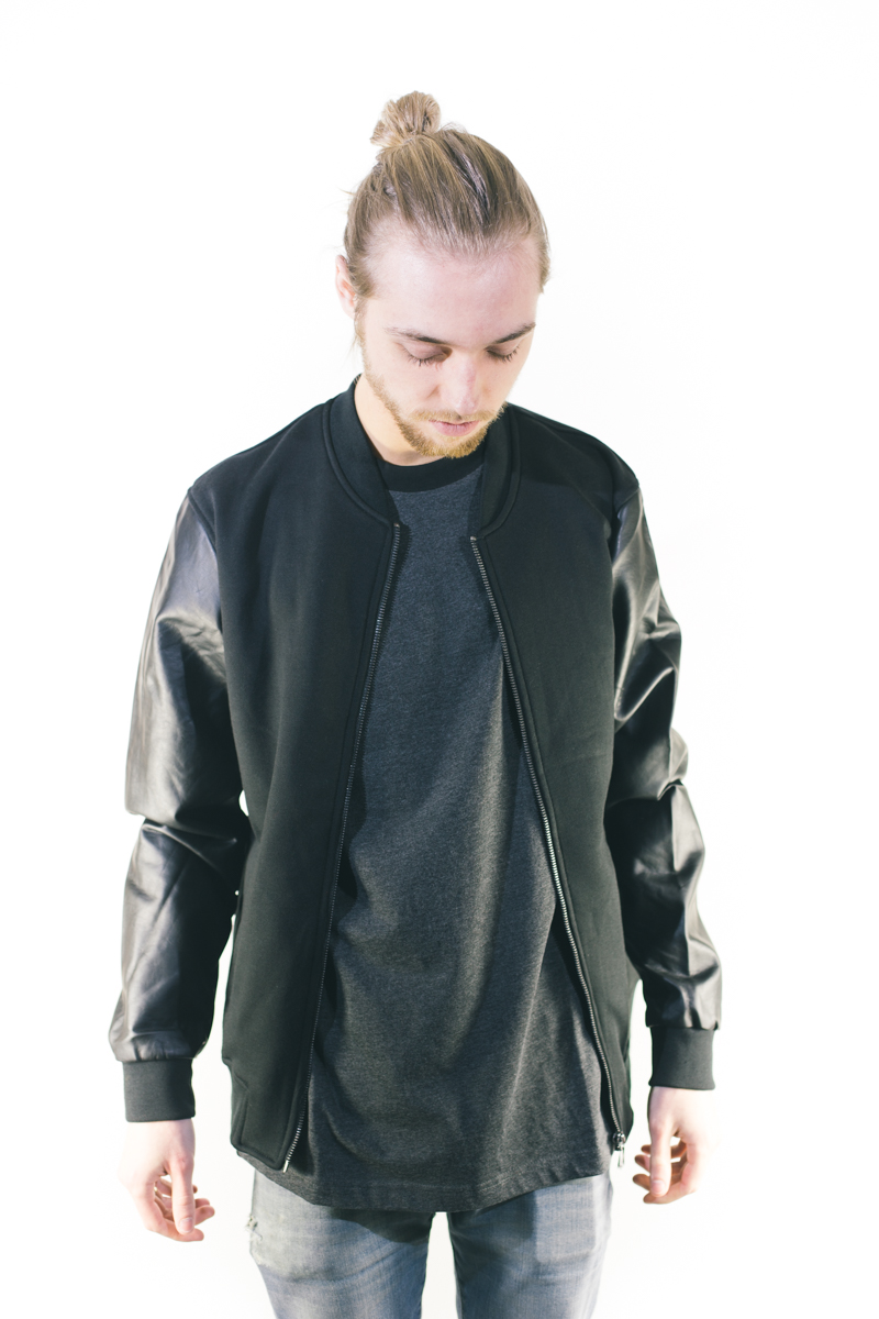 Urban Classics Zipped Leather Imitation Sleeve Jacket Black Blac